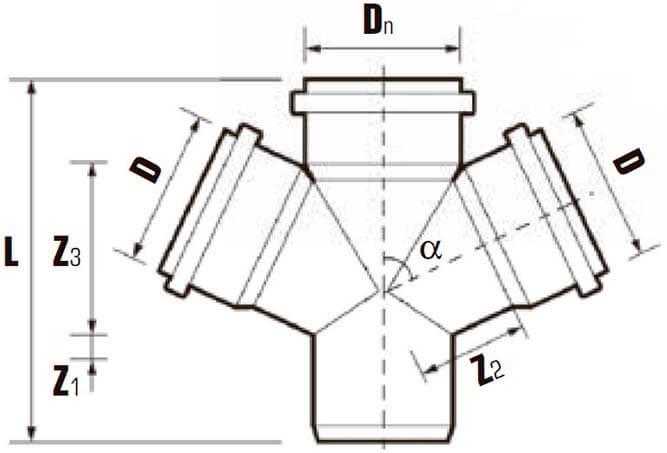 Крестовины ПВХ одноплоские 45/87° для внутренней канализации схема
