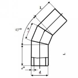 Отвод сварной 45° двухсекционный схема
