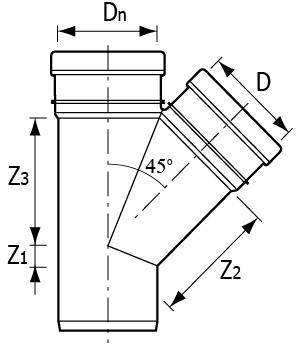 Тройники НПВХ Хемкор 45° наружные для канализационных труб схема