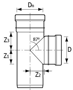 Тройники НПВХ 87° наружные для канализационных труб схема