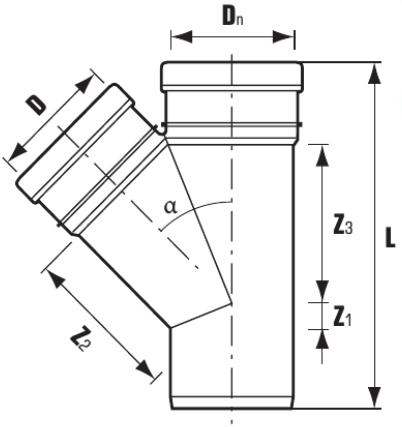 Тройники ПВХ 45° для внутренней канализации схема