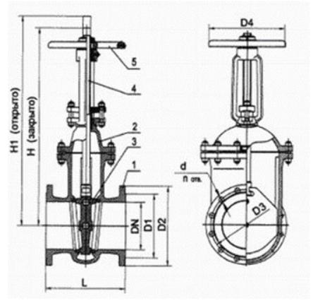 Задвижка стальная литая клиновая 30с41нж размеры