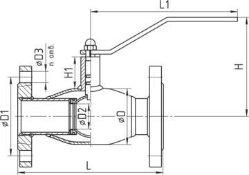 Кран шаровой фланцевый стандартнопроходной схема