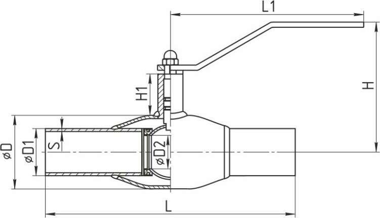 Кран шаровой под приварку стальной стандартнопроходной размеры