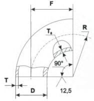 Отвод стальной черный крутоизогнутый 90° ГОСТ 17375 размеры