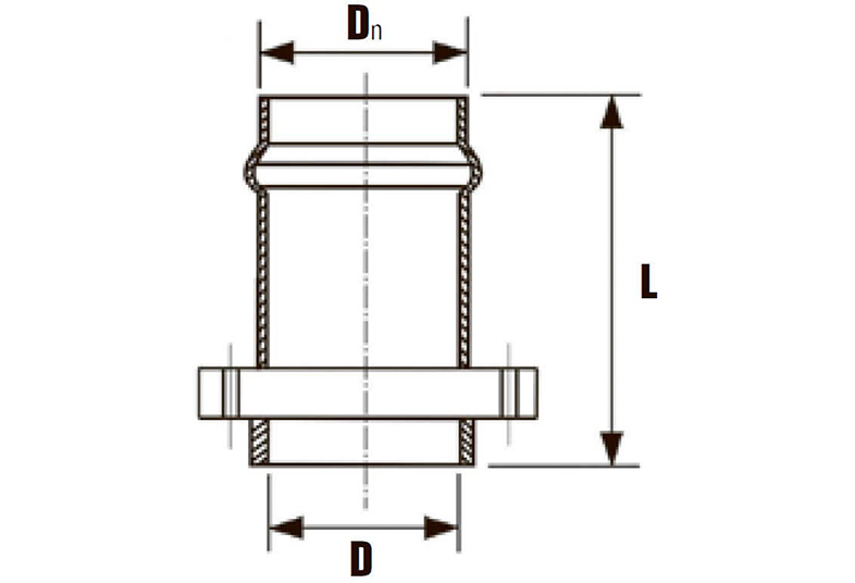 Патрубок раструбный НПВХ с металлическим фланцем