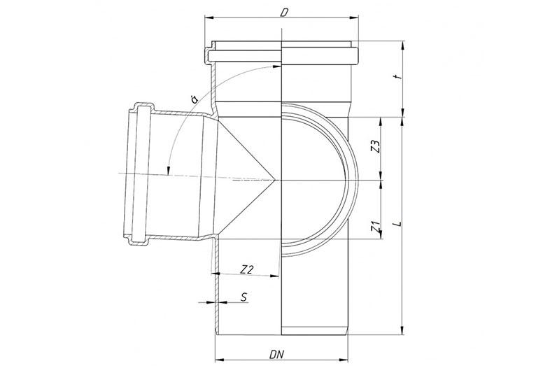 SKED - крестовина двухплоскостная 87°