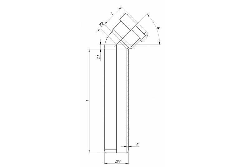 SKLB - отвод удлиненный 45°
