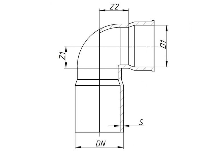 SKSW - отвод сифонный 90°