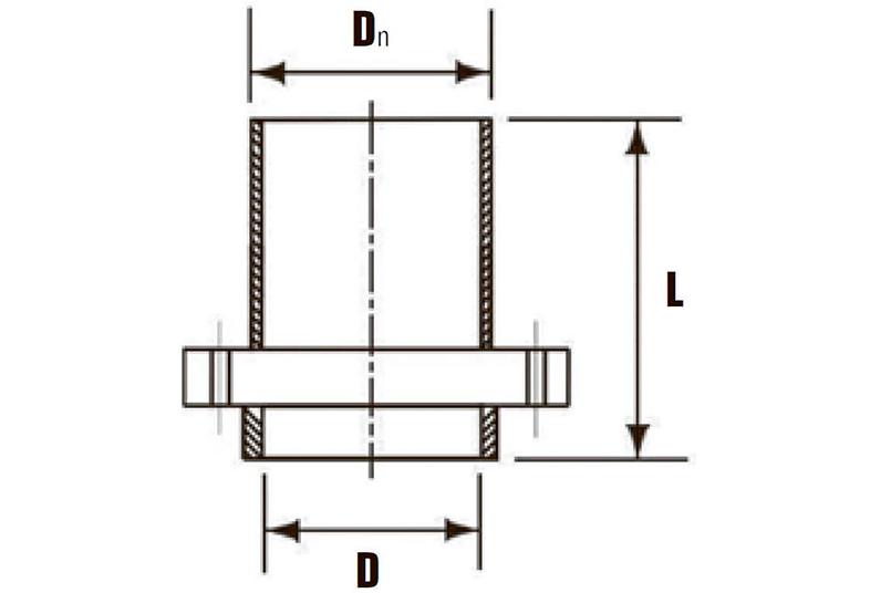 Патрубок НПВХ гладкий с металлическим фланцем